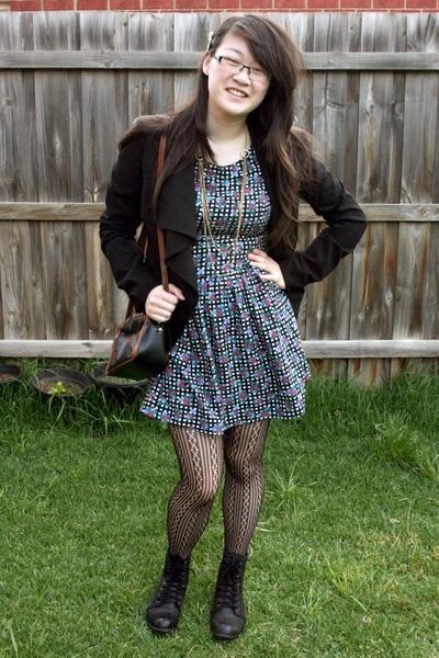 black lace up Roc boots - navy floral Dont Ask Amanda dress
