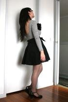 gray cotton on top - black warehouse skirt - gray stockings - black I love Billy