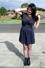 Blue-revival-dress-black-thrifted-top-black-second-hand-from-savers-boots-
