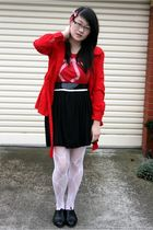 red ids jacket - red Topshop t-shirt - black Living Doll skirt - white stockings