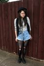 White-thrifted-top-black-roc-boots-black-target-vest-blue-second-hand-shor