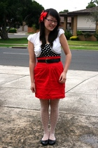 black Valleygirl top - white Living Doll top - red CKM skirt - white thrifted ti