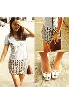 cream cut out Reva flats - leopard print OASAP skirt