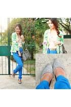 chartreuse floral SM GTW blazer