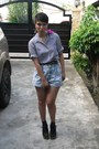 Andre-chang-boots-button-fly-vintage-shorts-vintage-top-from-mom-belt