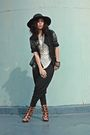 Black-anagon-hat-vintage-blazer-beige-paradigm-shift-top-black-paradigm-sh