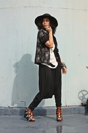 black anagon hat - vintage blazer - beige Paradigm Shift top - black Paradigm Sh