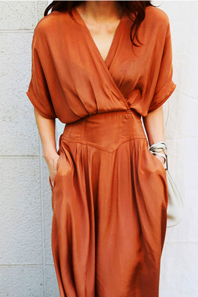burnt orange surplice Fashionmia dress - burnt orange plain Fashionmia dress