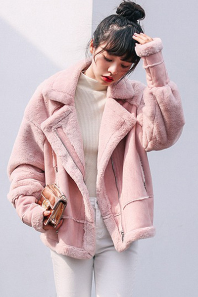 pink fold-over Fashionmia coat - pink collar Fashionmia coat