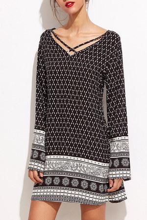black v-neck Fashionmia dress - black tribal Fashionmia dress