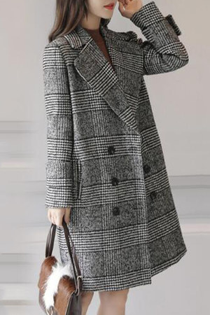 fold-over Fashionmia coat - colla Fashionmia coat - houndstooth Fashionmia coat