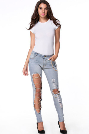 sky blue cutout chain Fashionmia jeans