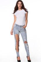 sky blue cutout chain Fashionmia jeans