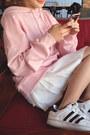 Pink-autumn-spring-fashionmia-hoodie-pink-cotton-blend-fashionmia-hoodie