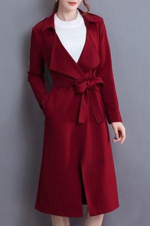 maroon fold-over Fashionmia coat - maroon collar Fashionmia coat