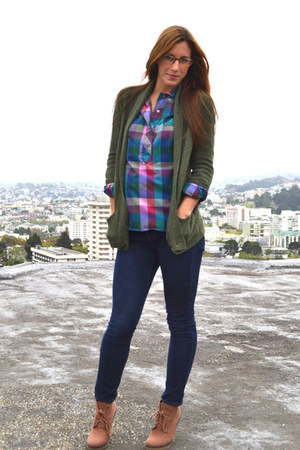 magenta plaid thrifted shirt - light brown Urban Outfitters boots