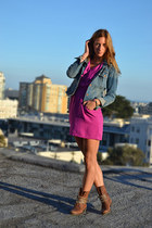 magenta Urban Outfitters dress - brown studded asos boots