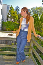 navy Urban Outfitters jeans - mustard Urban Outfitters cardigan - white striped