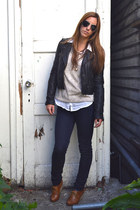 navy Gap jeans - black leather jacket Doma jacket - off white Urban Outfitters s