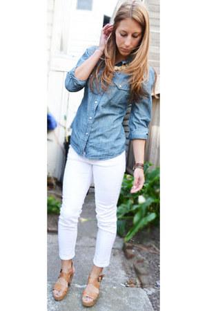 cropped Nordstrom jeans - denim Lucky Brand shirt - platform Lucky Brand sandals