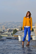 mustard cropped Urban Outfitters sweater - brown asos boots