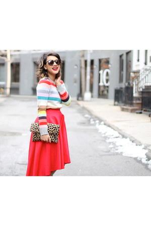 red midi Chicwish skirt - mallory Dee Keller heels