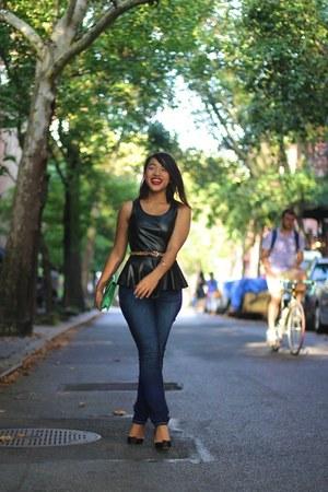 leather peplum Jennifer Lloyd shirt - jeggings Maurices jeans