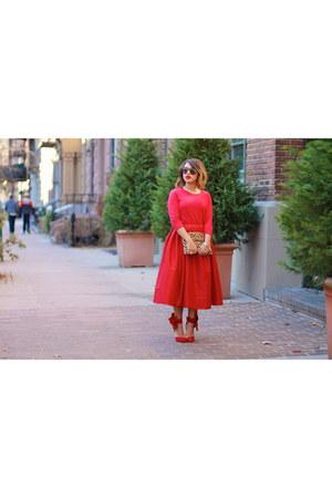 red midi Chicwish skirt