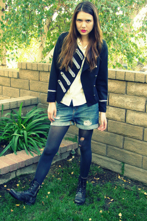 Forever 21 jacket - J Crew blouse - Zara shorts - banana republic tights - Steve