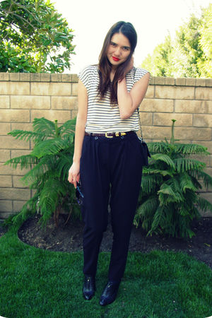 black Forever 21 pants - white Forever 21 top - Chanel purse - black banana repu
