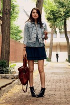 black vintage boots - navy Urban Outfitters dress - light blue Levis jacket - da