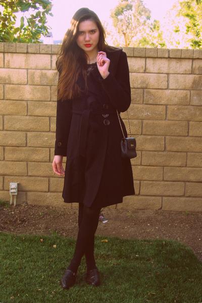 black eShakti coat - black Forever 21 top - black deena and ozzy shoes - blue vi