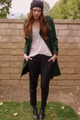 Green-gap-coat-white-forever-21-top-black-bebe-pants-black-forever-21-hat-