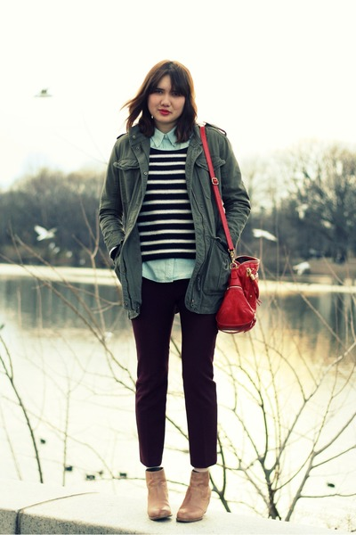 red Rebecca Minkoff bag - camel 8020 boots - army green French Connection jacket