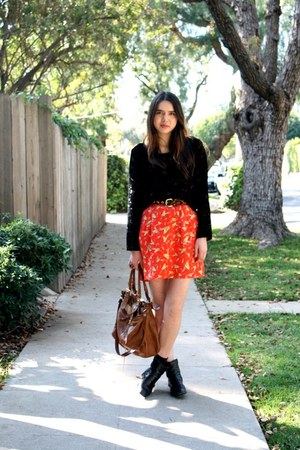 black vintage boots - brown Calico belt - ruby red Tilly Boutique skirt - black