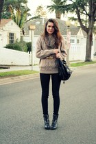 black 8020 boots - black sold design lab jeans - beige vintage sweater - camel m