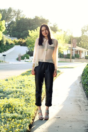 beige 8020 shoes - black leather vintage pants - light pink storets top