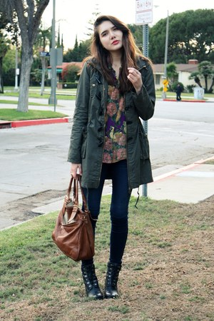 olive green asos jacket - blue Rich & Skinny jeans - purple moschino cheap & chi