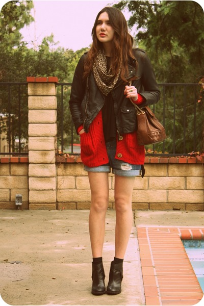 black Anthropologie boots - black Zara jacket - red wholesale-dressnet sweater -