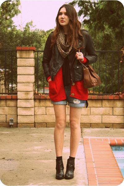 black Anthropologie boots - black Zara jacket - red wholesale-dressnet sweater -