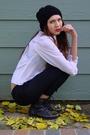 White-vintage-blouse-black-bebe-belt-black-forever-21-hat-black-steve-madd