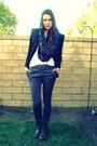 Black-bebe-blazer-gray-diy-scarf-gray-h-m-pants-black-steve-madden-boots-