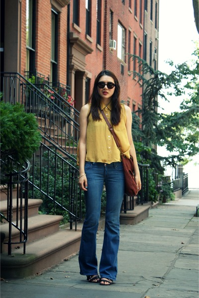 mustard Yesstyle top - black Steve Madden shoes - blue Raven Denim jeans
