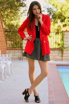 red Ramona West Vintage blazer - black Ramona West Vintage skirt - black thrift
