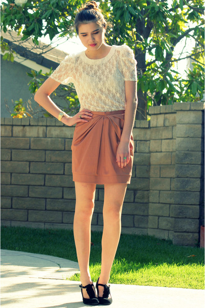 white lace Forever 21 top - black Steve Madden shoes - pink H&amp;M skirt