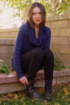 blue H&M sweater - black Forever 21 jeans - black Steve Madden boots