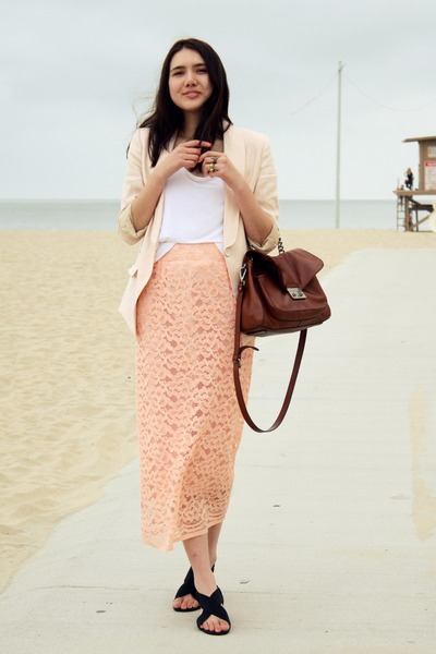 H&M blazer - banana republic bag - vintage skirt - Wanted sandals