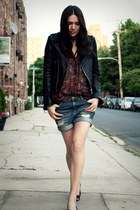 black True Religion jacket - purple vintage from CALICO shirt - blue Zara shorts