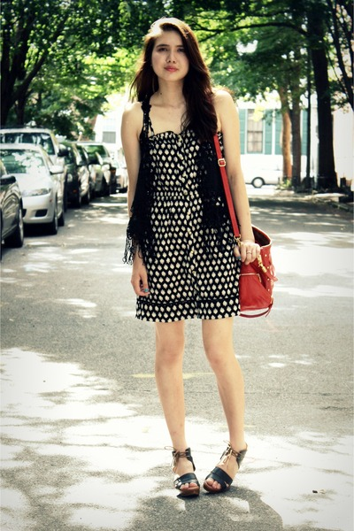 dark brown 8020 shoes - black Urban Outfitters dress - red Rebecca Minkoff bag -