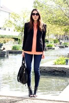 black modcloth shoes - blue Rich & Skinny jeans - black Bebe blazer - black meli